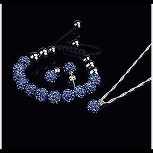 Blue Crystal Rhinestone Shamballa Set